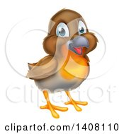 Clipart Of A Happy Robin Bird Royalty Free Vector Illustration by AtStockIllustration