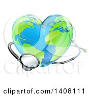 Clipart Of A 3d Stethoscope Around A Heart Earth Globe Royalty Free Vector Illustration by AtStockIllustration