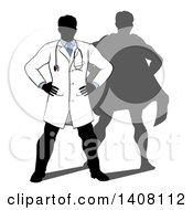 Silhouetted Male Doctor Standing With His Hands On His Hips A Super Hero Shadow Behind Him