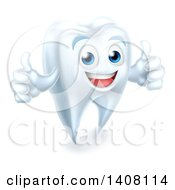Clipart Of A 3d Happy White Tooth Character Giving Two Thumbs Up Royalty Free Vector Illustration