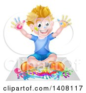 Clipart Of A Cartoon Happy White Boy Sitting And Hand Painting Artwork Royalty Free Vector Illustration