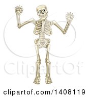 Happy Cartoon Skeleton Character Waving Or Dancing