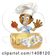 Clipart Of A Happy Black Boy Chef Making Star Cookies Royalty Free Vector Illustration by AtStockIllustration
