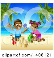 Clipart Of A Happy Black Boy And Girl Playing And Building A Sand Castle On A Tropical Beach Royalty Free Vector Illustration