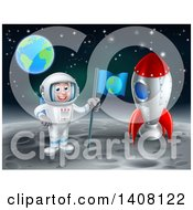 Astronaut With A Flag Standing On The Moon By A Rocket With Earth In The Distance