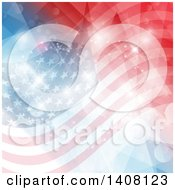 Clipart Of A Patriotic American Flag Background With Flares Royalty Free Vector Illustration