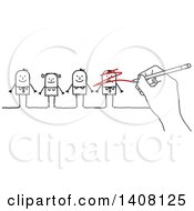 Clipart Of A Hand Scribbling Out A Stick Business Man In A Line Up Royalty Free Vector Illustration