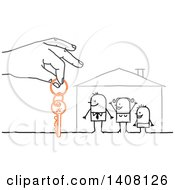 Clipart Of A Hand Giving House Keys To A Stick Family Royalty Free Vector Illustration