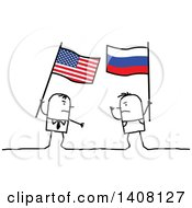 Stick Men Holding American And Russian Flags And Fighting