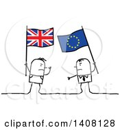 Clipart Of Stick Men Holding British And European Flags And Fighting Brexit Royalty Free Vector Illustration
