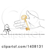 Clipart Of A Hand Giving A Key To A Stick Business Man Royalty Free Vector Illustration