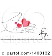 Clipart Of A Hand Offering Love Hearts To A Stick Business Man Royalty Free Vector Illustration by NL shop