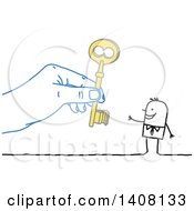 Clipart Of A Hand Giving A Key To A Stick Business Man Royalty Free Vector Illustration by NL shop