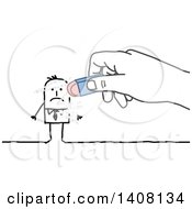 Clipart Of A Hand Erasing A Stick Business Man Royalty Free Vector Illustration