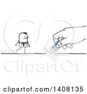 Clipart Of A Hand Erasing A Path That A Stick Business Man Is Walking On Royalty Free Vector Illustration
