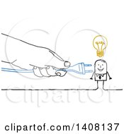 Clipart Of A Hand Plugging In A Cord To A Creative Stick Business Man Royalty Free Vector Illustration