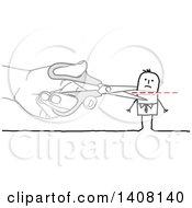 Poster, Art Print Of Hand Using Scissors To Cut A Stick Business Mans Head Off