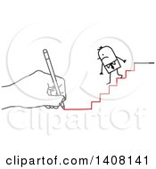 Hand Drawing A Stick Business Man Going Down Stairs