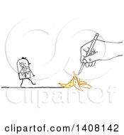 Hand Drawing A Stick Business Man Approaching A Banana Peel As He Talks On A Cell Phone
