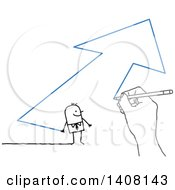 Poster, Art Print Of Hand Drawing A Stick Business Man And Arrow