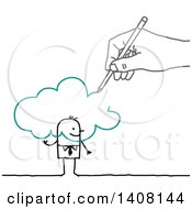 Clipart Of A Hand Drawing A Stick Business Man And Cloud Royalty Free Vector Illustration