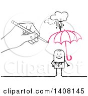 Clipart Of A Hand Drawing A Sheltering Insurance Umbrella Over A Stick Business Man Royalty Free Vector Illustration