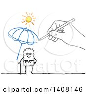 Hand Drawing A Sheltering Life Insurance Umbrella Over An Old Stick Man