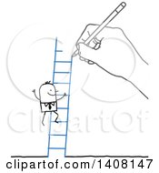 Clipart Of A Hand Drawing A Stick Business Man Climbing A Ladder Royalty Free Vector Illustration