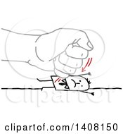 Clipart Of A Gray Hand Punching A Stick Business Man Into The Ground Royalty Free Vector Illustration