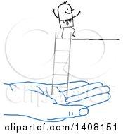 Poster, Art Print Of Blue Hand Holding A Ladder For A Stick Business Man