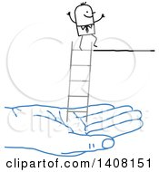 Clipart Of A Blue Hand Holding A Ladder For A Stick Business Man Royalty Free Vector Illustration