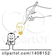 Hand Drawing A Stick Business Man With An Idea