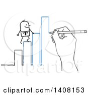 Hand Drawing A Stick Business Man Climbing A Bar Graph To Success