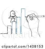 Poster, Art Print Of Hand Drawing A Stick Business Man Climbing A Bar Graph To Success