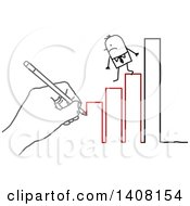 Clipart Of A Hand Drawing A Stick Business Man Stepping Down A Bar Graph To Failure Royalty Free Vector Illustration