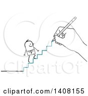 Hand Drawing A Stick Business Man Climbing Stairs