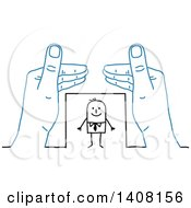 Clipart Of A Pair Of Blue Hands Protecting A Stick Business Man Royalty Free Vector Illustration