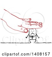 Clipart Of A Red Hand Squishing A Stick Business Man Royalty Free Vector Illustration