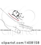Clipart Of A Stick Business Man Sliding Down A Hand Royalty Free Vector Illustration