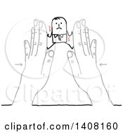 Clipart Of A Stick Business Man Being Squished Between Hands Royalty Free Vector Illustration