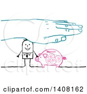 Clipart Of A Blue Hand Sheltering A Stick Business Man And His Savings Piggy Bank Royalty Free Vector Illustration
