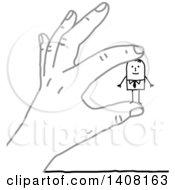 Poster, Art Print Of Gray Hand Holding A Stick Business Man