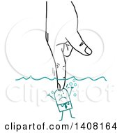 Poster, Art Print Of Hand Pushing A Small Stick Business Man Underwater