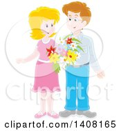 Clipart Of A Happy White Couple Holding Flowers And Looking At Each Other Royalty Free Vector Illustration by Alex Bannykh