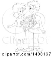 Clipart Of A Black And White Lineart Happy Couple Holding Flowers And Looking At Each Other Royalty Free Vector Illustration by Alex Bannykh