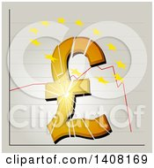 Clipart Of A Broken British Pound Symbol And Yellow Stars Over The Top On Stock Exchange Graphic Background Royalty Free Vector Illustration