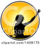 Clipart Of A Silhouetted Female Dj Over A Record Deck In A Yellow Circle Royalty Free Vector Illustration