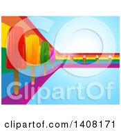Clipart Of A Rainbow Curve With Popsicles And Ice Cream Cones On Blue Royalty Free Vector Illustration by elaineitalia