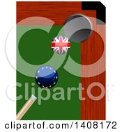 Poster, Art Print Of Billiards Pool Brexit Cue Stick About To Hit A Europe Ball To Knock A British Ball Into A Hole