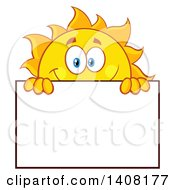Clipart Of A Yellow Summer Time Sun Character Mascot Holding A Blank Sign Royalty Free Vector Illustration